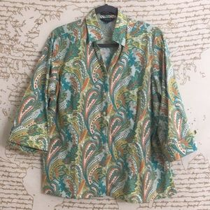 Land's End 3/4 Sleeve Printed Button Down